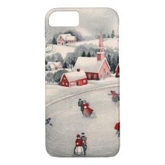 Navidad del vintage, patinadores de hielo del funda iPhone 7