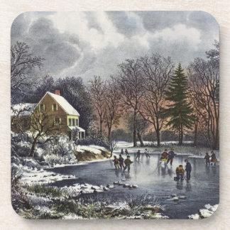 Navidad del vintage, patinadores tempranos del posavasos de bebida
