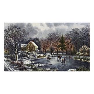 Navidad del vintage, patinadores tempranos del tarjetas de visita