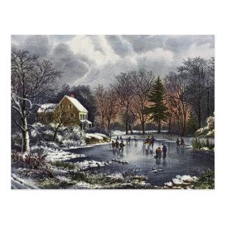 Navidad del vintage, patinadores tempranos del tarjetas postales