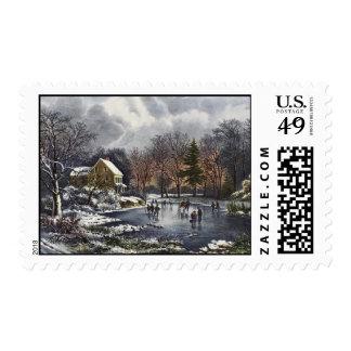 Navidad del vintage, patinadores tempranos del timbre postal