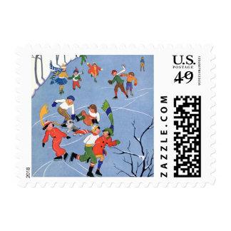 Navidad del vintage, patinaje de hielo de los sellos
