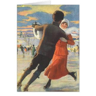 Navidad del vintage, patinaje de hielo romántico tarjeta de felicitación
