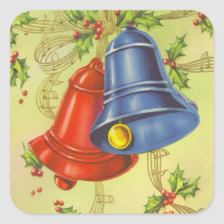 Navidad del vintage pegatina cuadrada