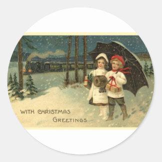 Navidad del vintage pegatina redonda