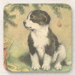 Navidad del vintage, perro de perrito lindo