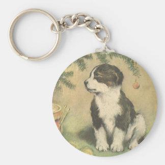 Navidad del vintage, perro de perrito lindo del llavero redondo tipo pin