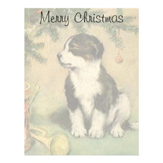 Navidad del vintage, perro de perrito lindo del membrete