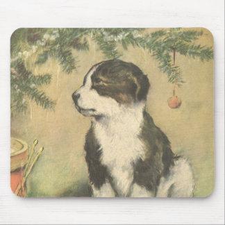 Navidad del vintage, perro de perrito lindo del mouse pads