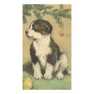Navidad del vintage, perro de perrito lindo del tarjetas de visita