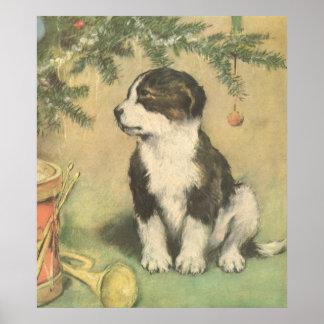 Navidad del vintage perro de perrito lindo impresiones