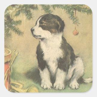 Navidad del vintage, perro de perrito lindo pegatinas cuadradas personalizadas