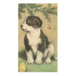 Navidad del vintage, perro de perrito lindo tarjeta de visita