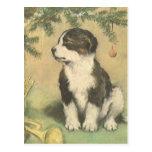 Navidad del vintage, perro de perrito lindo postales