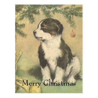 Navidad del vintage, perro de perrito lindo tarjeta postal