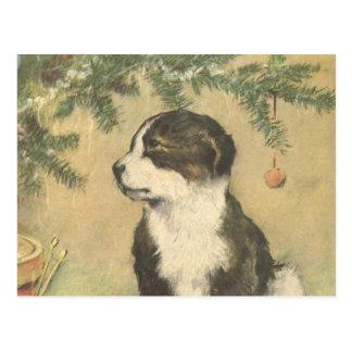 Navidad del vintage, perro de perrito lindo tarjetas postales