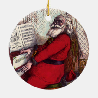 Navidad del vintage, piano de Papá Noel del Adorno Redondo De Cerámica