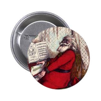 Navidad del vintage, piano de Papá Noel del Pin Redondo De 2 Pulgadas