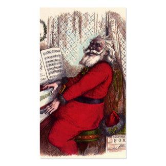 Navidad del vintage, piano de Papá Noel del Tarjetas De Visita