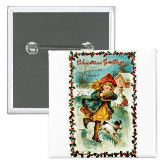 Navidad del vintage pin cuadrada 5 cm