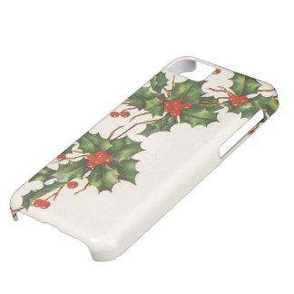 Navidad del vintage, planta del acebo con las funda para iPhone 5C