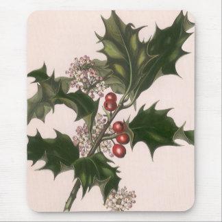 Navidad del vintage, planta del acebo con las tapetes de ratón