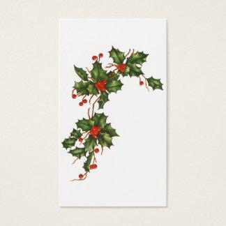 Navidad del vintage, planta del acebo con las tarjeta de negocios