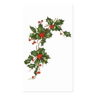 Navidad del vintage, planta del acebo con las tarjetas de visita