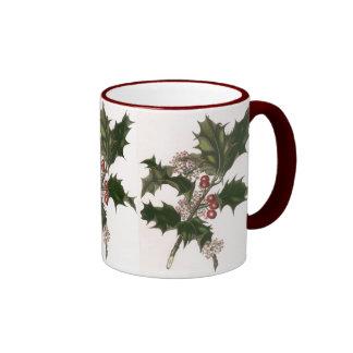 Navidad del vintage, planta del acebo con las taza a dos colores