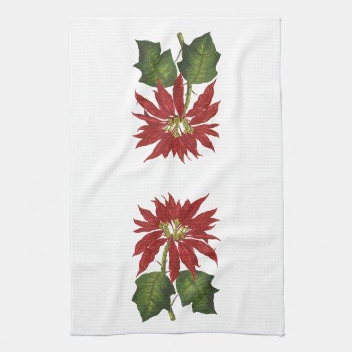 Navidad del vintage, planta roja del invierno del toalla de mano