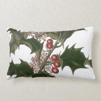 Navidad del vintage, planta verde del acebo con cojin
