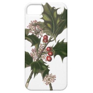 Navidad del vintage, planta verde del acebo con funda para iPhone SE/5/5s