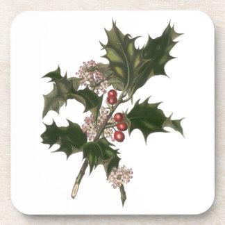 Navidad del vintage, planta verde del acebo con posavasos de bebida