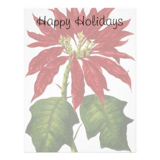 Navidad del vintage, Poinsettia rojo Membrete A Diseño