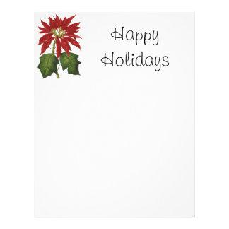 Navidad del vintage, Poinsettia rojo Membrete