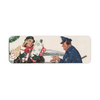 Navidad del vintage, policía de los presentes que  etiqueta de remite