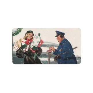 Navidad del vintage, policía de los presentes que  etiqueta de dirección