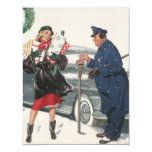 Navidad del vintage, policía de los presentes que invitación 10,8 x 13,9 cm