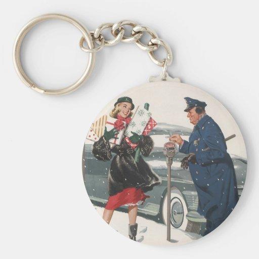Navidad del vintage, policía de los presentes que  llavero personalizado