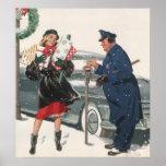 Navidad del vintage, policía de los presentes que póster