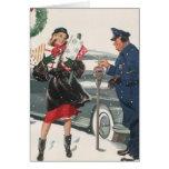 Navidad del vintage, policía de los presentes que tarjeton