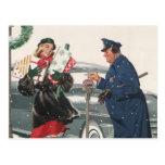 Navidad del vintage, policía de los presentes que  tarjeta postal