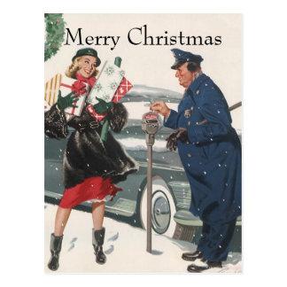 Navidad del vintage policía de los presentes que tarjetas postales