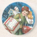 Navidad del vintage posavasos diseño