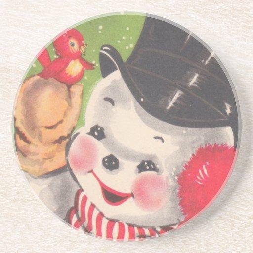Navidad del vintage posavasos personalizados