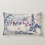 Navidad del vintage, pueblo Snowscape del invierno Cojín Lumbar
