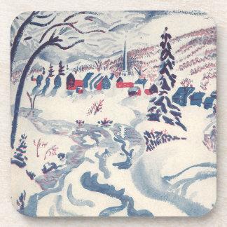 Navidad del vintage, pueblo Snowscape del invierno Posavasos De Bebidas