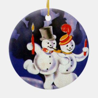 Navidad del vintage que baila velas de los muñecos adorno redondo de cerámica