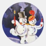 Navidad del vintage que baila velas de los muñecos pegatinas redondas