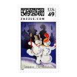Navidad del vintage que baila velas de los muñecos sello